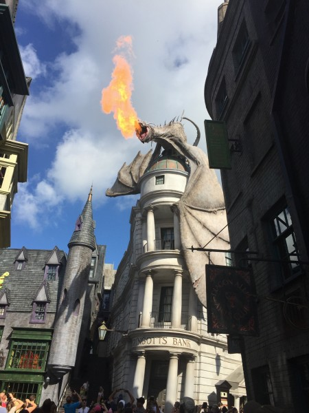 Diagon Alley Gringotts Dragon Wizarding World of Harry Potter universal studios Orlando Florida