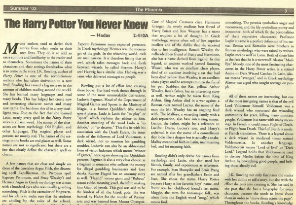 Harry Potter Phoenix Article High School