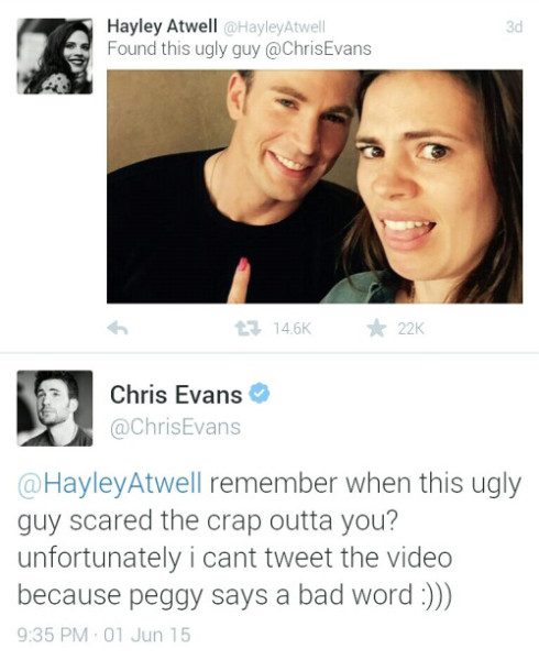 wcw chris evans hayley atwell twitter