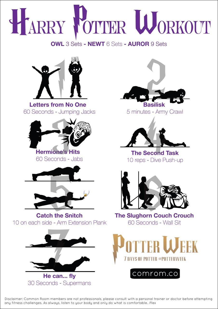 tumblr room ideas pictures - 7 Magical Moves Harry Potter SwishandFlex Workout Sheet